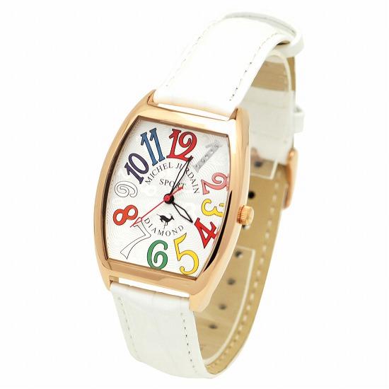 MICHEL JURDAIN SPORT ミッシェル ジョルダンスポーツ メンズ 腕時計 ダイヤモンド入 トノー型 SG-1100-5 ホワイト×ホワイトレザーベルト 【着後レビューを書いて1000円OFFクーポンGET】