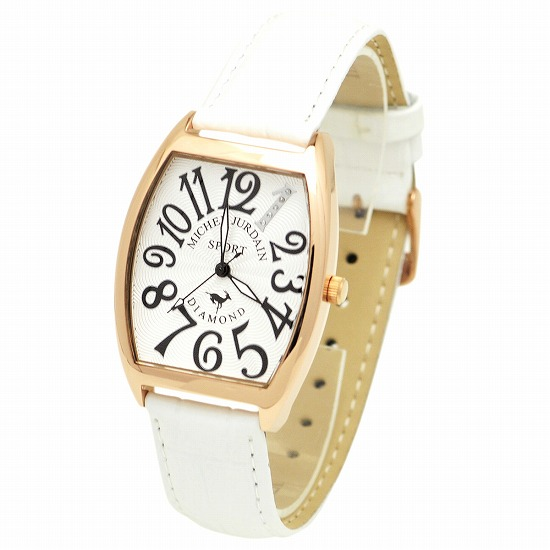 MICHEL JURDAIN SPORT ミッシェル ジョルダンスポーツ メンズ 腕時計 ダイヤモンド入 トノー型 SG-1100-6 ホワイト×ホワイトレザーベルト 【着後レビューを書いて1000円OFFクーポンGET】