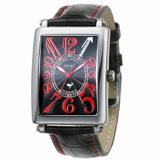 MICHEL JURDAIN SPORT ミッシェル ジョルダンスポーツ メンズ 腕時計 ダイヤモンド入 SG-3000-1 ブラックレッド×ブラックレザーベルト 【着後レビューを書いて1000円OFFクーポンGET】
