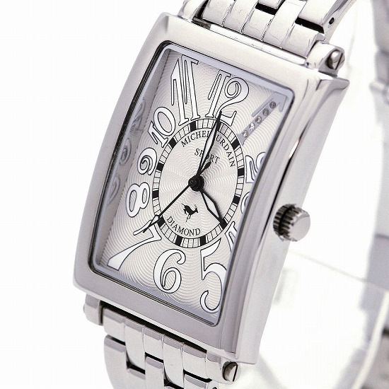 MICHEL JURDAIN SPORT ミッシェル ジョルダンスポーツ メンズ 腕時計 ダイヤモンド入 SG-3000-3B ホワイト×シルバーメタルベルト 【着後レビューを書いて1000円OFFクーポンGET】