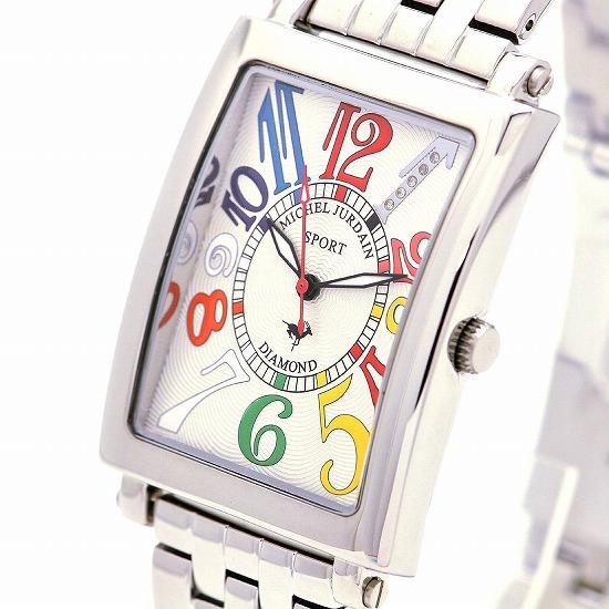 MICHEL JURDAIN SPORT ミッシェル ジョルダンスポーツ メンズ 腕時計 ダイヤモンド入 SG-3000-6B ホワイトマルチ×シルバーメタルベルト 【着後レビューを書いて1000円OFFクーポンGET】