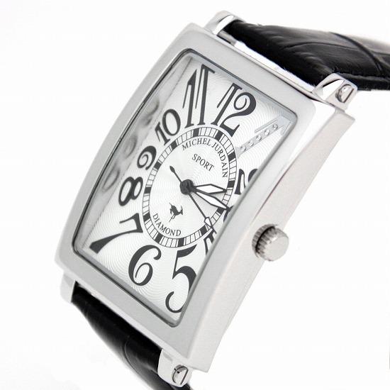 MICHEL JURDAIN SPORT ミッシェル ジョルダンスポーツ メンズ 腕時計 ダイヤモンド入 SG-3000-7 ホワイトブラック×ブラックレザーベルト 【着後レビューを書いて1000円OFFクーポンGET】