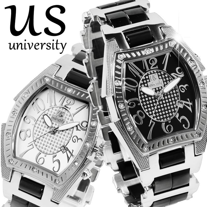 ユニバーシティ UNIVERSITY メンズ腕時計 長渕剛さん 芸能人愛用 アナログ ステンレス US203WH US203BK US203BKG 選べる3カラー