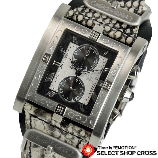 KEITH VALLER キースバリー 腕時計 クロノグラフ シルバー/ブラックレザー パイソン型押しベージュ PSC-WH