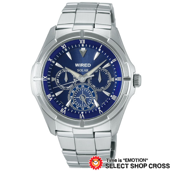 【3年保証】 セイコー SEIKO ワイアード WIRED カーブハードレックス ソーラー メンズ 腕時計 AGAD033 アナログ シルバー×ブルー 福士蒼汰 正規品