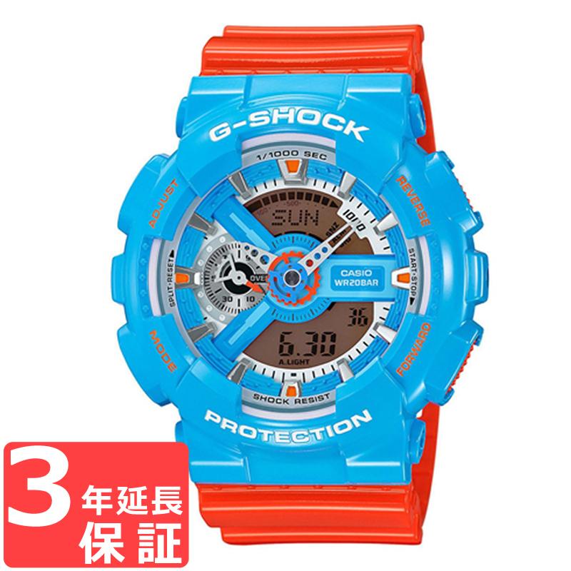 【名入れ対応】 【3年保証】 CASIO カシオ G-SHOCK Gショック 防水 ジーショック クオーツ メンズ 腕時計 ブルー×オレンジ GA-110NC-2ADR 海外モデル [国内 GA-110NC-2AJF と同型]