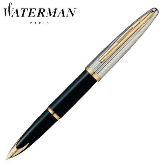 ウォーターマン 筆記用具 万年筆 カレン・デラックス ブラック&シルバーGT F S2228142 正規品 名入れ