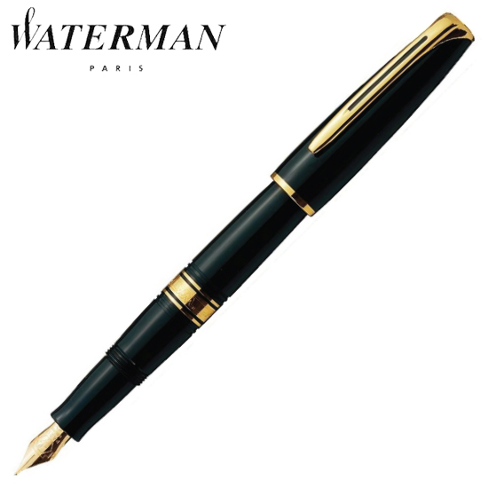 ウォーターマン 筆記用具 万年筆 チャールストン エボニーブラックGT M S2233113 正規品 名入れ
