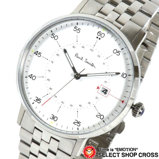 PAUL SMITH ポールスミス Gauge ゲージ メタルベルト 腕時計 メンズ ホワイト×シルバー P10074