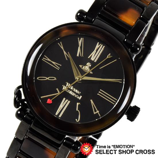 Vivienne Westwood ヴィヴィアン・ウエストウッド アナログ 腕時計 ブランド レディース オーブチャーム ブラック×ブラウン VV006BKBR