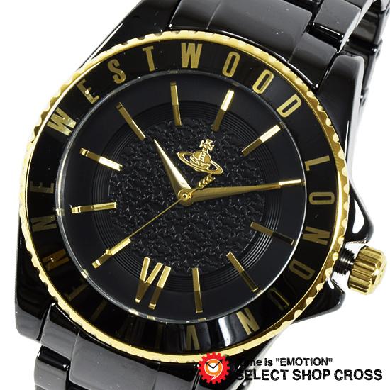 Vivienne Westwood ヴィヴィアン・ウエストウッド アナログ 腕時計 メンズ オーブ ブラック×ゴールド VV048GDBK