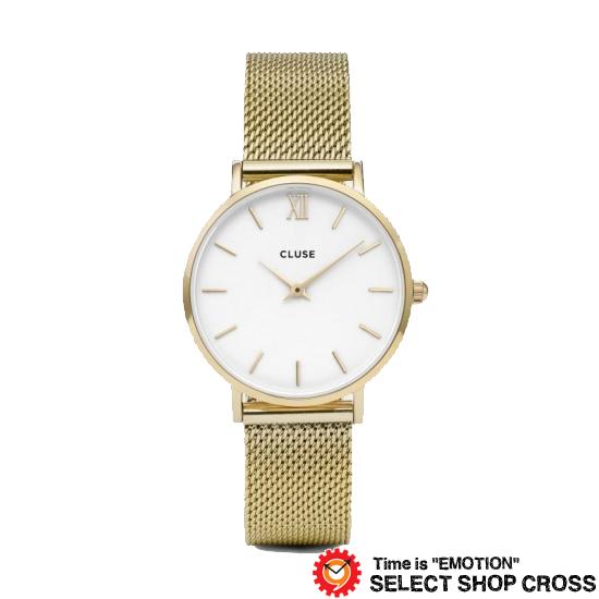 CLUSE クルース MINUIT MESH ミニュイ メッシュベルト ゴールド 腕時計 (33mm径) ホワイト/ゴールド CL30010