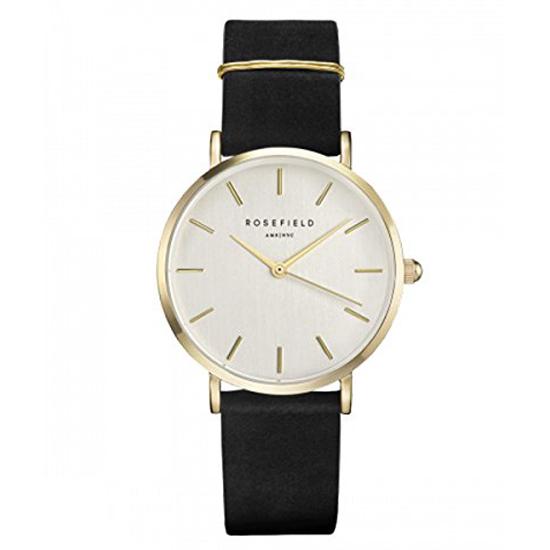 Rosefield 腕時計 The WEST VILLAGE ウエストビレッジ 33mm White Gold Black ホワイト/ゴールド/ブラックレザーベルト WBLG-W71
