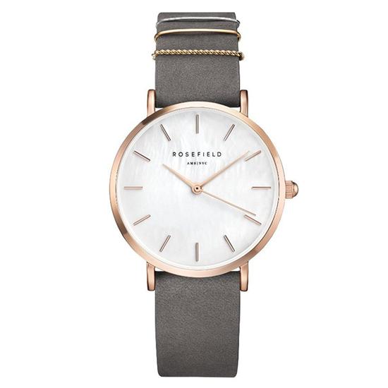 Rosefield 腕時計 The WEST VILLAGE ウエストビレッジ 33mm ホワイトパール/ローズゴールド/エレファントグレーレザーベルト WEGR-W75 【あす楽】
