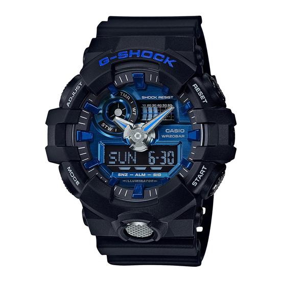 【名入れ対応】 【3年保証】 CASIO カシオ Gショック 防水 G-SHOCK ジーショック メンズ アナデジ デジタル クール クオーツ 腕時計 GA-710-1A2DR 海外モデル ブルー×ブラック 黒 [国内 GA-710-1A2JF と同型]