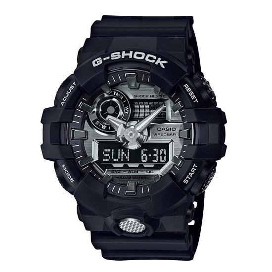 【名入れ対応】 【3年保証】 CASIO カシオ Gショック 防水 G-SHOCK ジーショック メンズ アナデジ デジタル クール クオーツ 腕時計 GA-710-1ADR 海外モデル シルバー×ブラック 黒 [国内 GA-710-1AJF と同型]