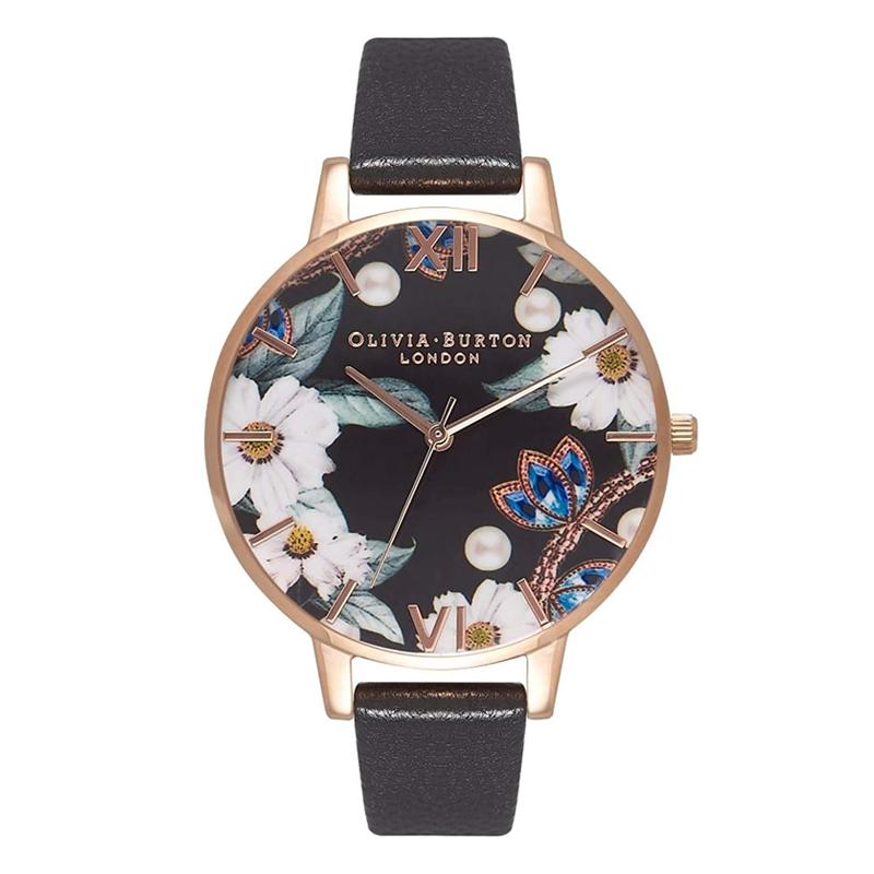 オリビアバートン 腕時計 Olivia Burton 時計 オリビアバートン 時計 Olivia Burton 腕時計 レディース BEJEWELLED FLORALS ブラック&ローズゴールド 腕時計 花柄 ビッグダイヤル 本革 レザー オリビアバートン 腕時計
