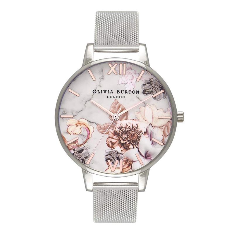オリビアバートン 腕時計 Olivia Burton 時計 オリビアバートン 時計 Olivia Burton 腕時計 レディース MARBLE FLORAL ROSE GOLD&SILVER MESH シルバー メッシュ 腕時計 オリビアバートン 腕時計
