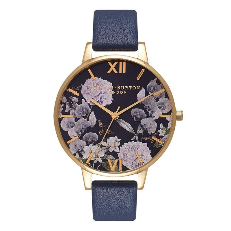 オリビアバートン 腕時計 Olivia Burton 時計 オリビアバートン 時計 Olivia Burton 腕時計 レディース 花柄 ENCHANTED GARDEN ミッドナイト ダイヤル&ゴールド 腕時計 ビッグダイヤル 本革 レザー オリビアバートン 腕時計