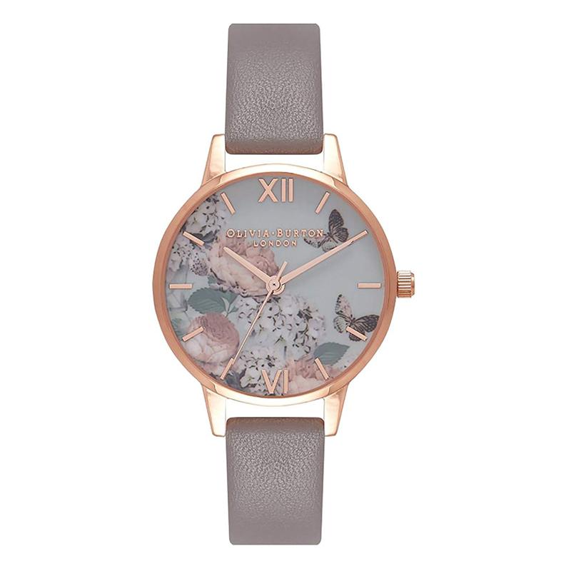 オリビアバートン 腕時計 Olivia Burton 時計 オリビアバートン 時計 Olivia Burton 腕時計 レディース MIDI SIGNATURE FLORAL ロンドングレー&ローズゴールド 腕時計 ミディダイヤル 花柄 フローラル オリビアバートン 腕時計