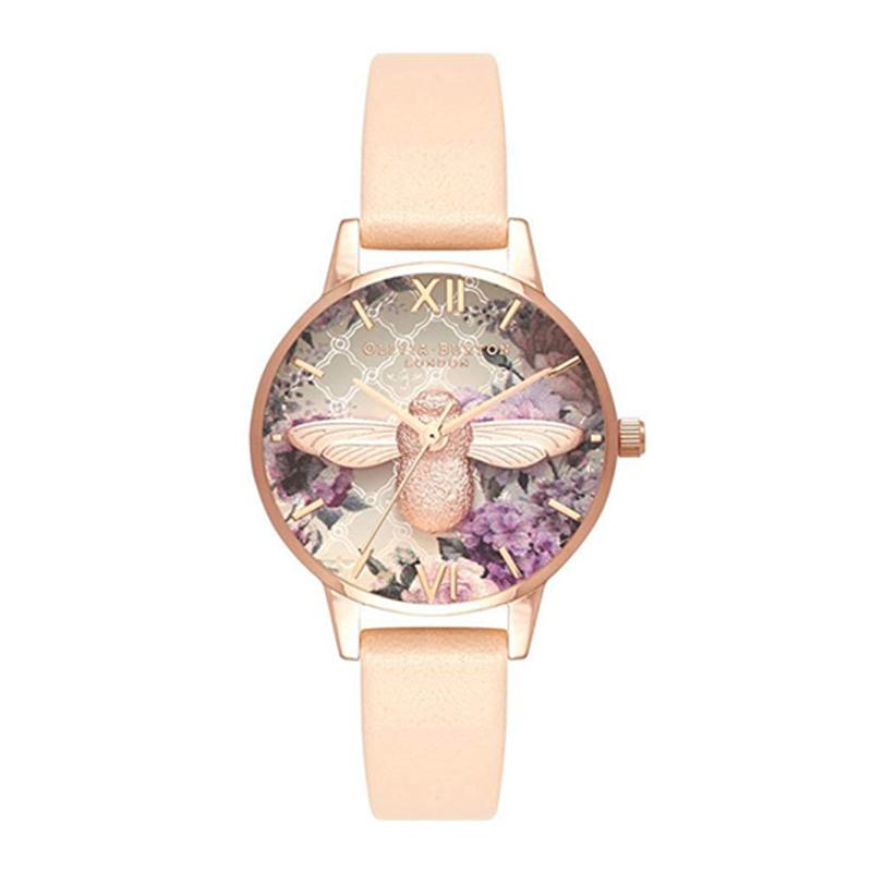 オリビアバートン 腕時計 Olivia Burton 時計 オリビアバートン 時計 Olivia Burton 腕時計 レディース Glasshouse 30mm ヌードピーチ&ローズゴールド 腕時計 本革 レザー オリビアバートン 腕時計