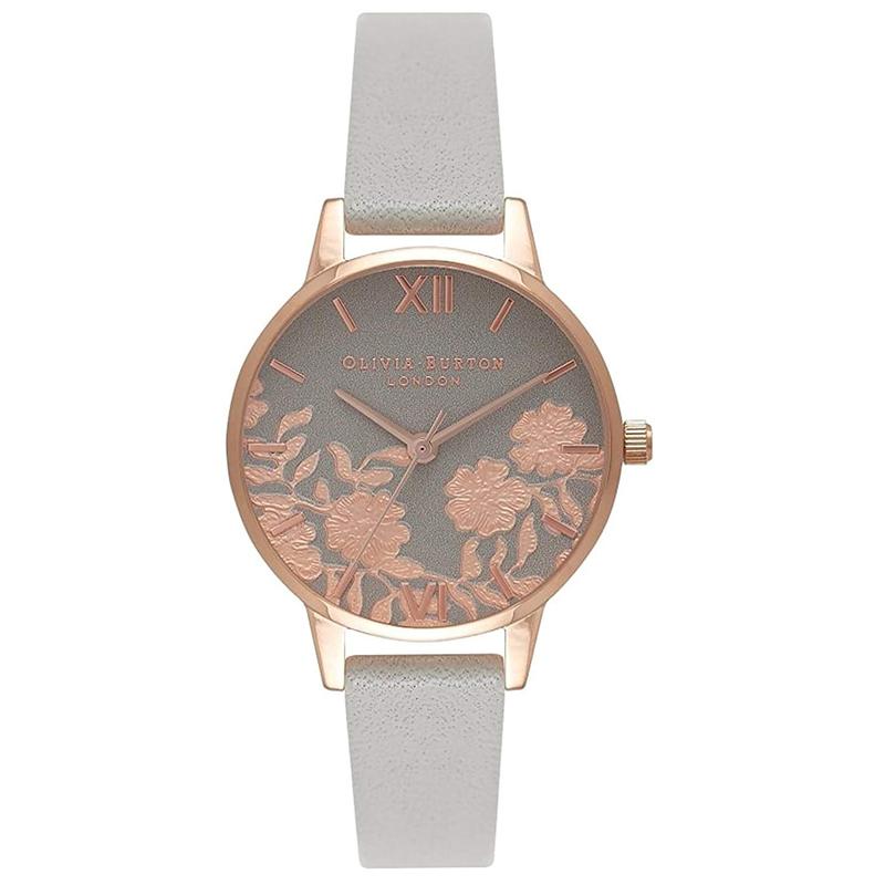 オリビアバートン 腕時計 Olivia Burton 時計 オリビアバートン 時計 Olivia Burton 腕時計 レディース レース ディティール グレー/ローズゴールド 腕時計 ミディダイヤル 花柄 フローラル 本革 レザー オリビアバートン 腕時計