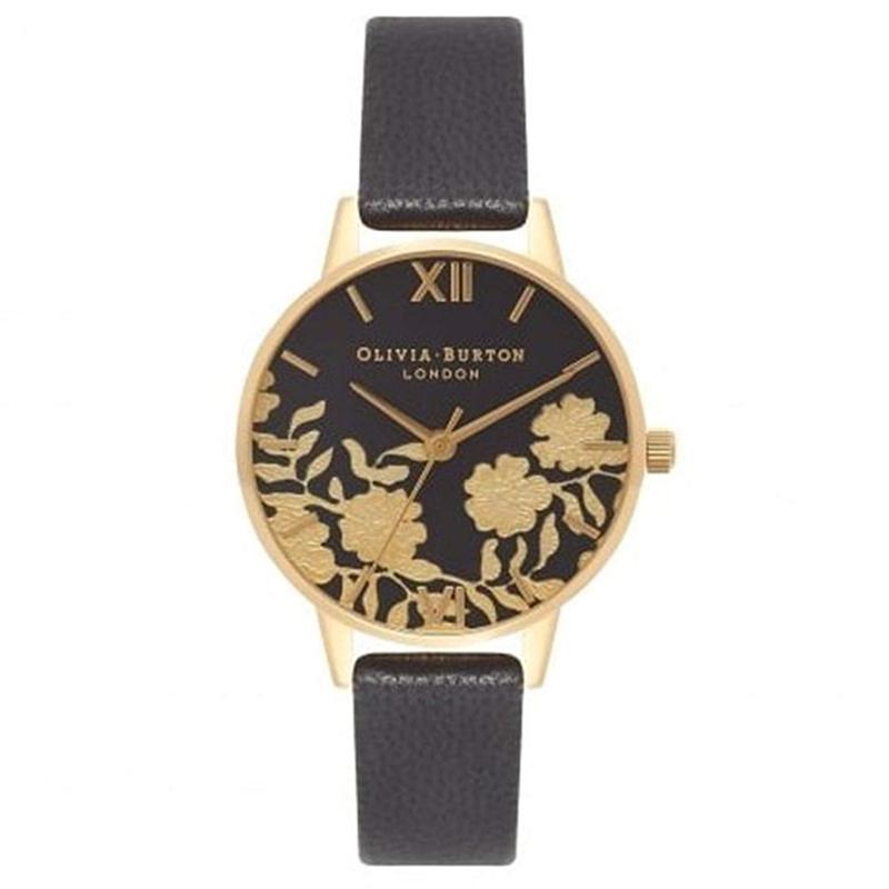 オリビアバートン 腕時計 Olivia Burton 時計 オリビアバートン 時計 Olivia Burton 腕時計 レディース 花柄 レース ディティール ブラック/ゴールド 腕時計 本革 レザ オリビアバートン 腕時計