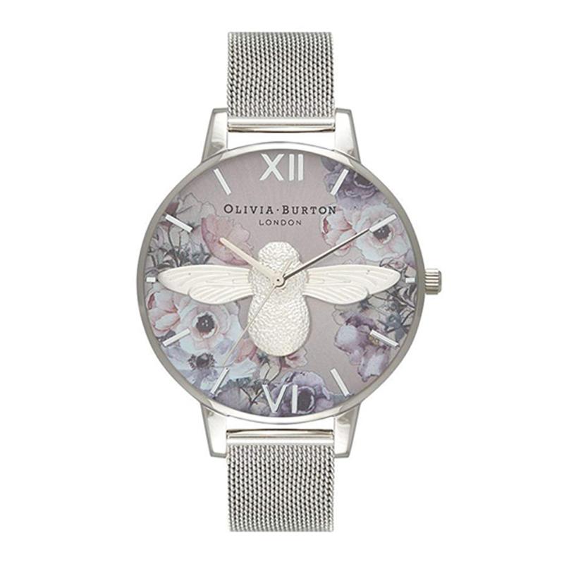 オリビアバートン 腕時計 Olivia Burton 時計 オリビアバートン 時計 Olivia Burton 腕時計 レディース Watercolour Florals 花柄 シルバー メッシュ 腕時計 オリビアバートン 腕時計