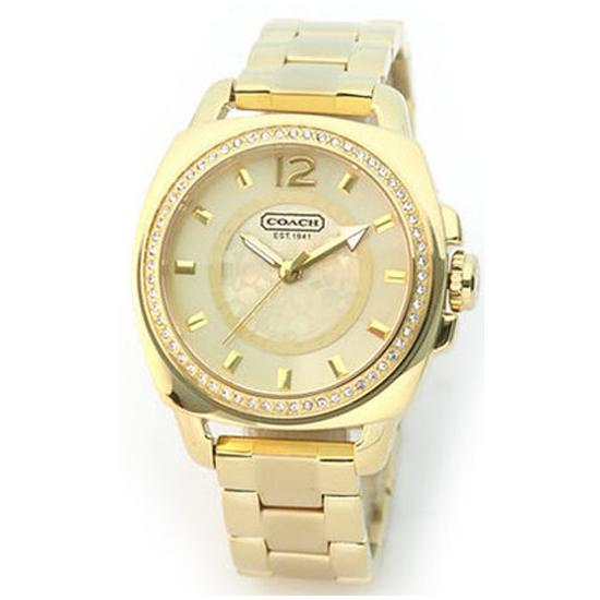 コーチ COACH クオーツ 腕時計 ブランド ボーイフレンドゴールド三つ折れプッシュレディース14501308
