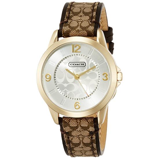 コーチ COACH クオーツ 腕時計 ブランド クラシックシグネチャーゴールド/ブラウンレザーベルトレディース14501613
