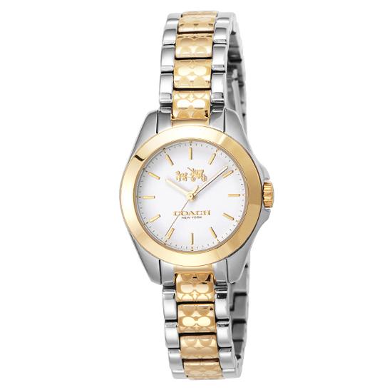 コーチ COACH クオーツ 腕時計 ブランド トリステン ミニホワイト/シルバー/ゴールドブレスレットウォッチレディース14502186