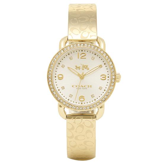 コーチ COACH クオーツ 腕時計 ブランド デランシーゴールド/ホワイトバングルレディース14502354