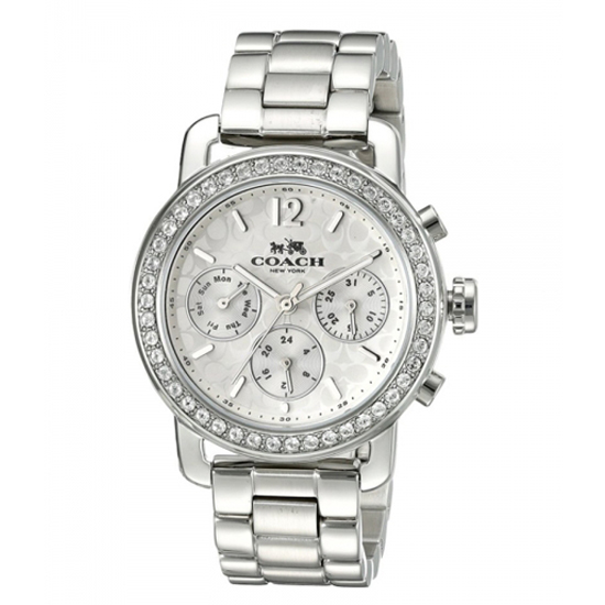 コーチ COACH クオーツ 腕時計 ブランド レガシー ホワイト/シルバーニつ折れプッシュレディース14502369