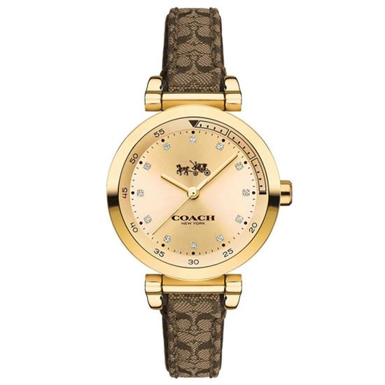 コーチ COACH クオーツ 腕時計 ブランド スポーツシグネチャーゴールド/ブラウンクリスタルストーンレディース14502539