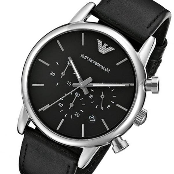 エンポリオ アルマーニ 時計 EMPORIO ARMANI 腕時計 クオーツ クロノ メンズ AR1733 ブラック エンポリオ アルマーニ 時計
