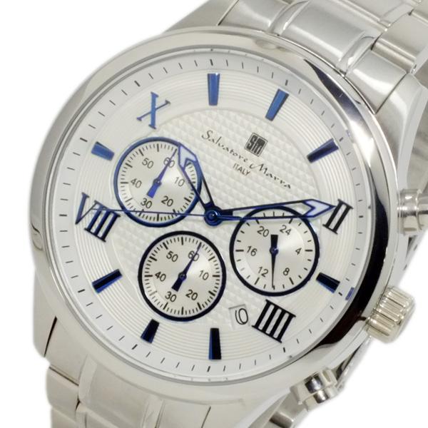 サルバトーレ マーラ SALVATORE MARRA クオーツ メンズ クロノ 腕時計 SM15102-SSWHBL ホワイト