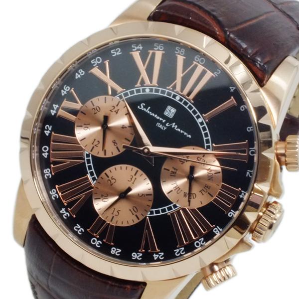 サルバトーレ マーラ SALVATORE MARRA クオーツ メンズ 腕時計 SM15103-PGBK ブラック 【あす楽】