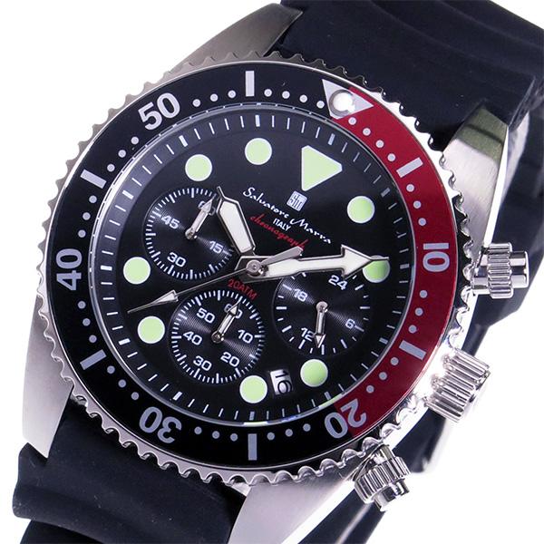 サルバトーレ マーラ SALVATORE MARRA クロノ クオーツ メンズ 腕時計 SM16104-SSBKRD ブラック