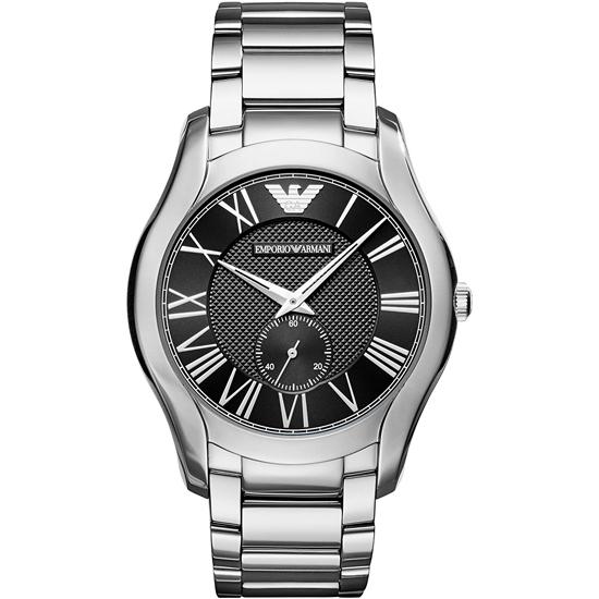 エンポリオ アルマーニ 時計 EMPORIO ARMANI 腕時計 メンズ VALENTE バレンテ 43mm スモールセコンド AR11086 スチール ブラック シルバー エンポリオ アルマーニ 時計