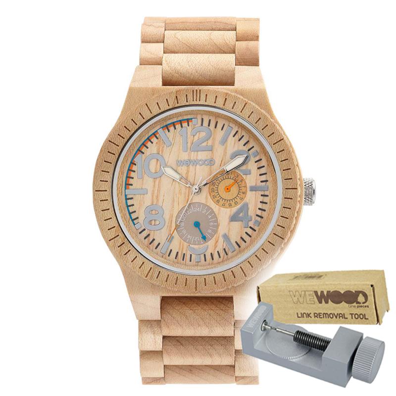 WEWOOD ウィーウッド 正規品 KARDO BEIGE 木製腕時計&純正器具セット ベルトコマ調整工具付き NATURAL WOOD ナチュラルウッド ハンドメイド時計 9818039
