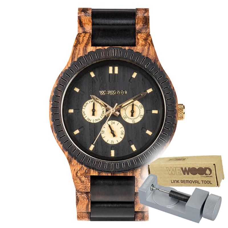 WEWOOD ウィーウッド 正規品 KAPPA ZEBRANO CHOCO 木製腕時計&純正器具セット ベルトコマ調整工具付き NATURAL WOOD ナチュラルウッド ハンドメイド時計 9818110