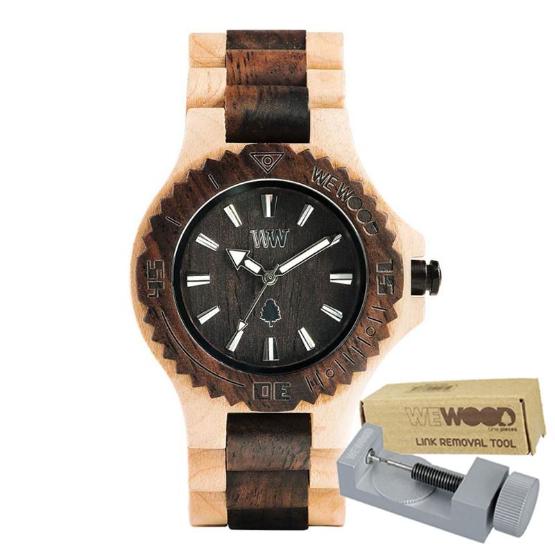 WEWOOD ウィーウッド 正規品 DATE BEIGE CHOCO 木製腕時計&純正器具セット ベルトコマ調整工具付き NATURAL WOOD ナチュラルウッド ハンドメイド時計 9818117