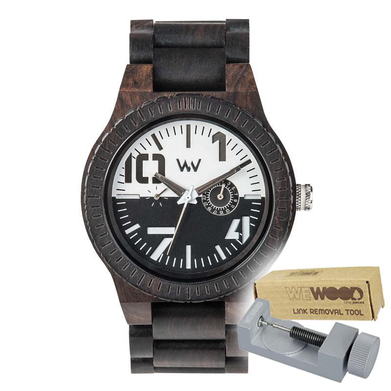 WEWOOD ウィーウッド 正規品 OBLIVIO BLACK-WHITE 木製腕時計&純正器具セット ベルトコマ調整工具付き NATURAL WOOD ナチュラルウッド ハンドメイド時計 9818123