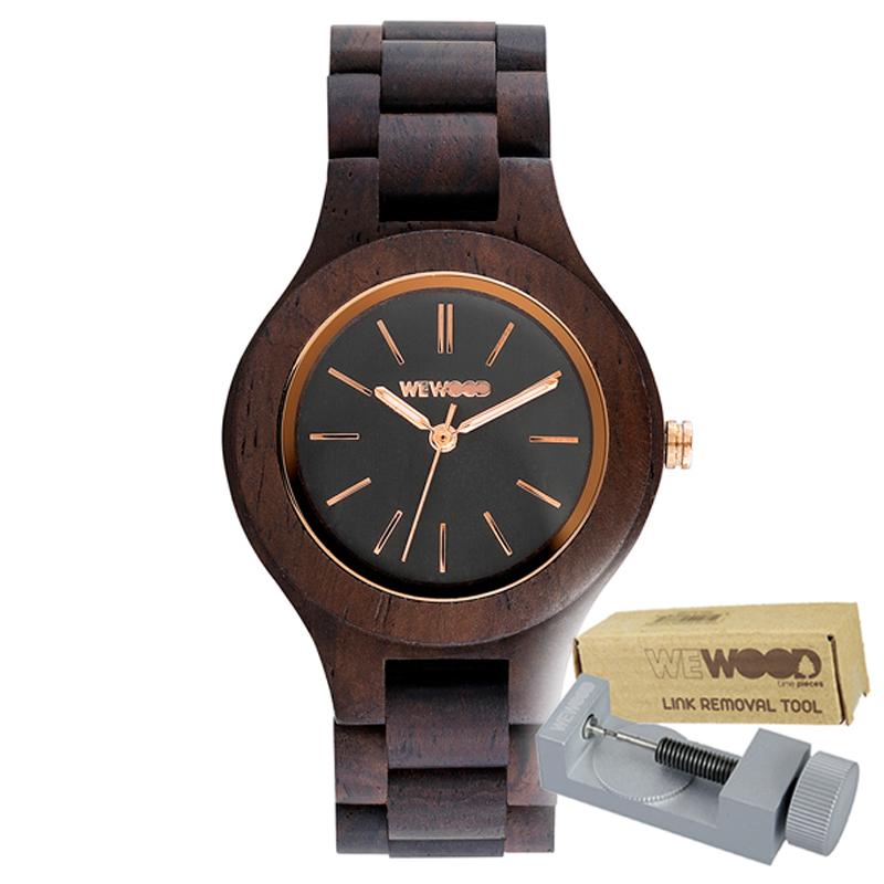 WEWOOD ウィーウッド 正規品 ANTEA CHOCOLATE 木製腕時計&純正器具セット ベルトコマ調整工具付き NATURAL WOOD ナチュラルウッド ハンドメイド時計 9818128