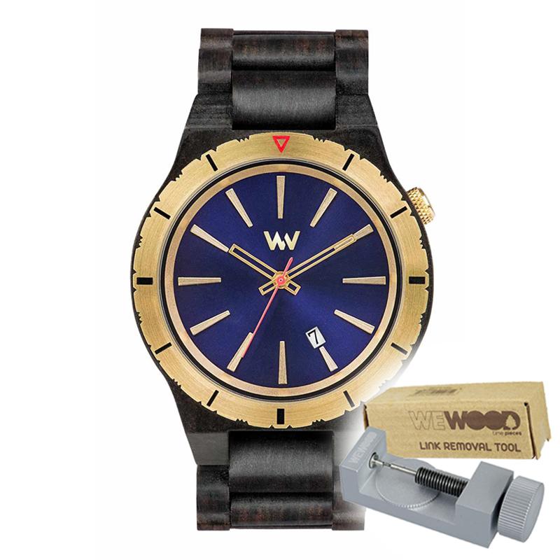 WEWOOD ウィーウッド 正規品 ASSUNT MB BLUE GOLD 木製腕時計&純正器具セット ベルトコマ調整工具付き NATURAL WOOD ナチュラルウッド ハンドメイド時計 9818134