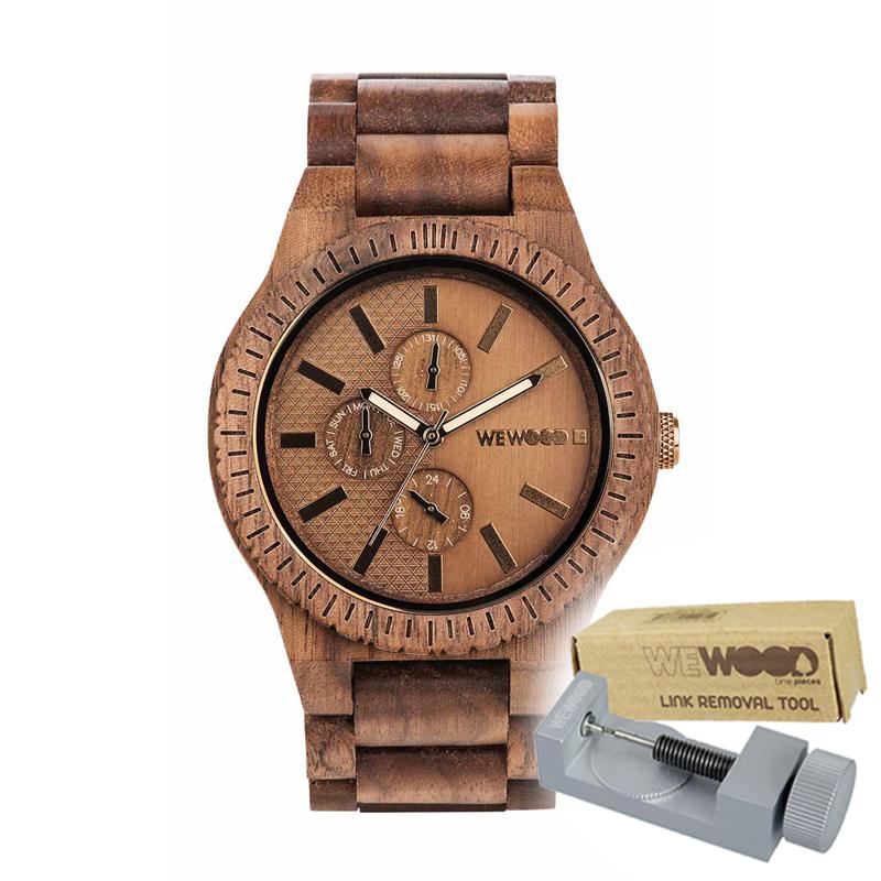 WEWOOD ウィーウッド 正規品 KOS NUT BRONZE 木製腕時計&純正器具セット ベルトコマ調整工具付き NATURAL WOOD ナチュラルウッド ハンドメイド時計 9818135