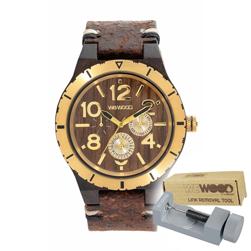 WEWOOD ウィーウッド 正規品 KARDO MB CHOCO GOLD 木製腕時計&純正器具セット ベルトコマ調整工具付き NATURAL WOOD ナチュラルウッド ハンドメイド時計 9818155