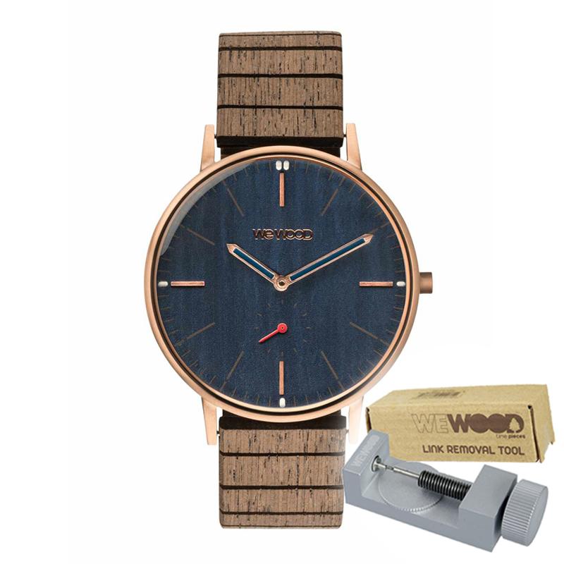 WEWOOD ウィーウッド 正規品 ALBACORE ROSE GOLD BLUE 木製腕時計&純正器具セット ベルトコマ調整工具付き NATURAL WOOD ナチュラルウッド ハンドメイド時計 9818168