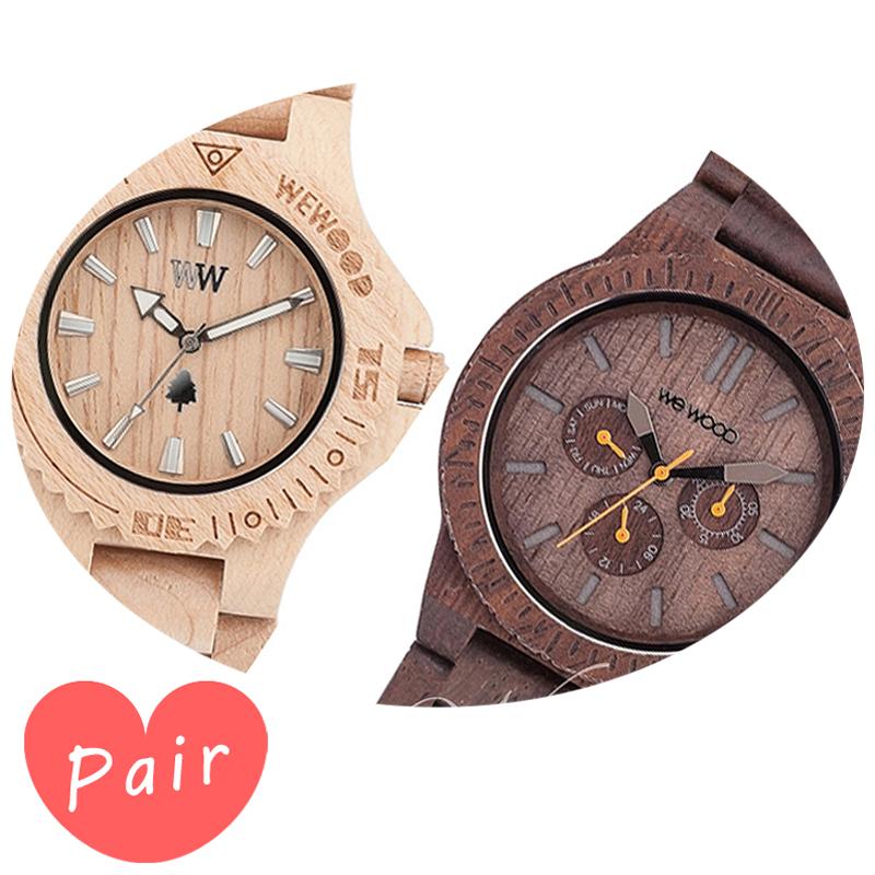 【ペアウォッチ】 WEWOOD ウィーウッド 正規品 腕時計ナチュラルウッド ハンドメイドデイトベージュカッパチョコレートwewood-9818025wewood-9818028