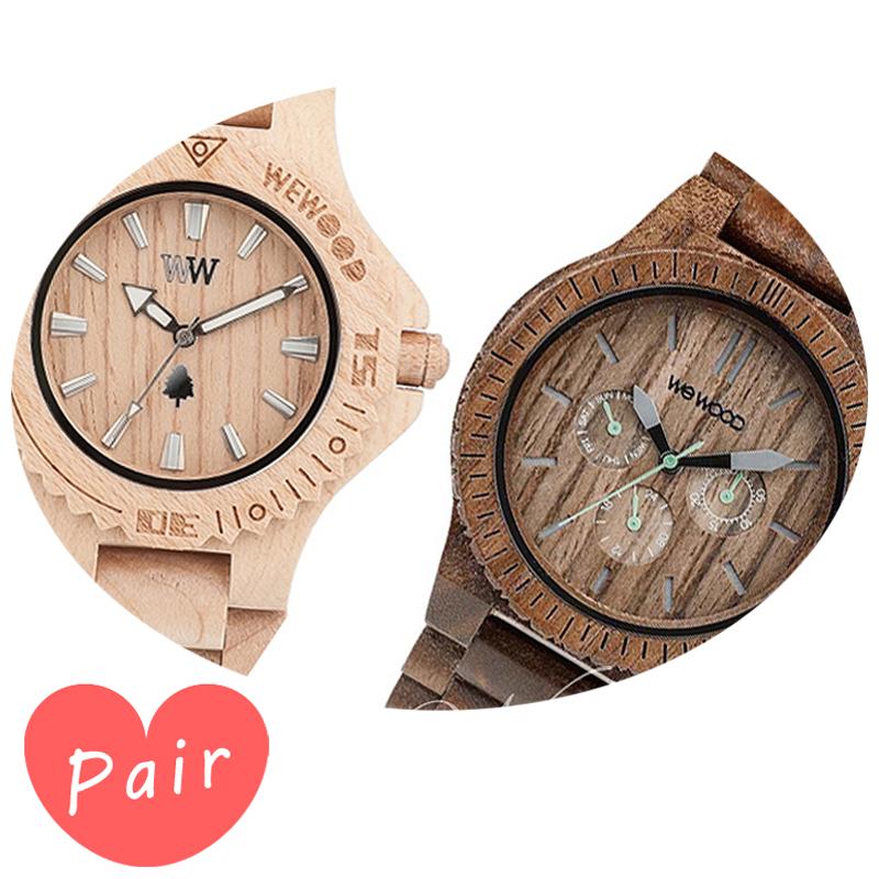 【ペアウォッチ】 WEWOOD ウィーウッド 正規品 腕時計ナチュラルウッド ハンドメイドデイトベージュカッパナットwewood-9818025wewood-9818030